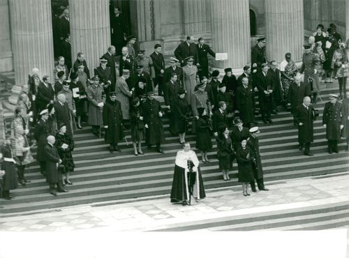 People outside St. Paul's cathedral at funeral of Winston Churchill, 1965.