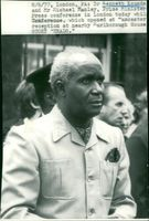 President Kenneth Kaunda during a press conference in London