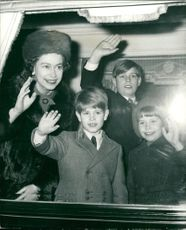 Prince Edward, Prince Andrew, Lady Sarah Armstrong-Jones and Queen Elizabeth II.
