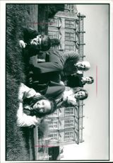 Charles and Judy Clive-Ponsonby-Fane and their children outside Brympton D'Evercy