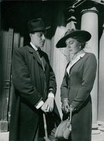 """A scene from the film """"The Serious Game"""" casting by Olof Widgren and Viveca Lindfors, 1945."""
