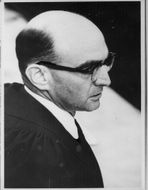 Close up of Gideon Hausner at trial of Adolf Eichmann.