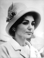 Portrait of Farah Pahlavi, wearing hat.  - 1962