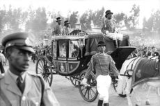 Princess Anne in a royal cart.