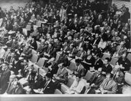 Overview of people at trial of Adolf Eichmann.