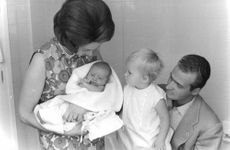 Juan Carlos I with his wife Sofia and children.