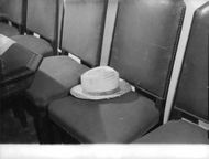 Hat on seat, at time of capture of Adolf Eichmann, June 1960.