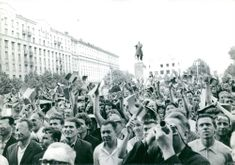 Crowd in the street welcome Charles de Gaulle in Soviet, 1966.