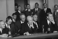 Dwight D. Eisenhower during a conference.