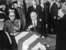 High ranking government officials and dignitary guests paying their last respect during the funeral of U.S. President Dwight Eisenhower.