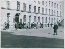 Que in front of Oslo employment office due to forced mobilization of workers, Germany.