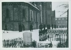 People outside Nidaros Cathedral  - are not allowed into church, Norway 1942.