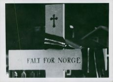 """Fell for Norway,"" a text written on a cross in graveyard, Norway 1942."