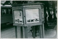 Notice board with SS newspaper Germaneren in Stortorget Olso , Norway during the World War 2.