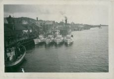 Picket boats moored at harbour in Norway. 1943.