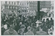 People protest and sing Norwegian national anthem as Hirden march out of the church of our Saviour in Oslo at Easter, Norway 1942.