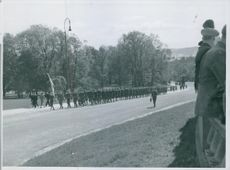 A girl division of Hirden marching to the castle in Oslo on 17th of May, where Quisling were to speak, Norway 1943.