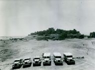 Vehicles on a parking space.