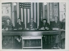 The U.S. Military Commission trying the case at the courthouse at Arwheiler, Germany, 1945.