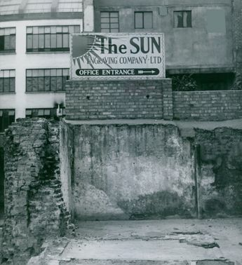 Photo of The Sun building, damaged by the bombings of war in London. 1946.
