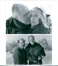 Two scenes from the film Cliffhanger with John Lithgow, Caroline Goodall and Rex Linn, 1993.