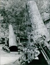 Vintage photo of artilleries used during Japanese 2nd World War. Photo taken on August 4, 1965.