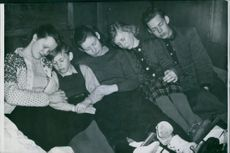 1940 Norwegian Refugees in Kiruna A refugee camp has been agreed on the YMCA in Kiruna. A Norwegian family who came over the border in the last moment resting in the refugee camp in Kiruna.