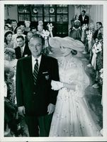 """A scene from the film """"En skön historia"""" (The Philadelphia Story), with Bing Crosby as CK Dexter Haven and Grace Kelly as Tracy Samantha Lord, 1956."""