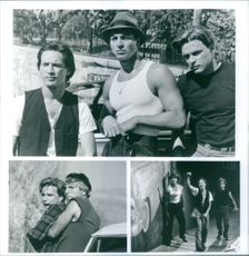 """Scenes from the film """"Blood In Blood Out"""", with Jesse Borrego as Cruz Candelaria, Benjamin Bratt as Paco Aguilar, Damian Chapa as Miklo Velka and Enrique Castillo as Montana Segura, 1993."""
