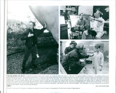 """Director Henry Selick, story board coordinator Andrew Birch, actor Paul Terry as James Henry Trotter and director of photography (live action) Hiro Narita in a set scene from the film """"James and the Giant Peach"""", 1996."""