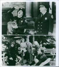 """Different scenes from the film """"Police Academy 4: Citizens on Patrol """", with Bobcat Goldthwait as Officer Zed, Bobcat Goldthwait as Officer Zed and G.W. Bailey as Capt. Thaddeus Harris, 1987."""