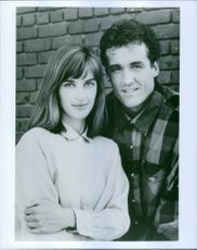 """John Wesley Shipp as Barry Allen / Flash and Amanda Pays as Christina """"Tina"""" McGee striking a pose from a TV series """"The Flash"""", 1990."""