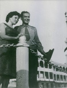 Gherman Stepanovich Titov stands with wife. 1961.