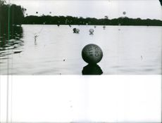 Balls floating on the water in Congo, Africa. 1966.