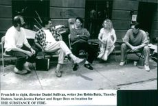 Daniel J. Sullivan, Jon Robin Baitz, Timothy Hutton, Sarah Jessica Parker and Roger Rees on location for the movie The Substance of Fire.