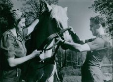 International reconstruction course in Sandvik, Bergen parish in 1944  Man and woman pampering horse for a ride.