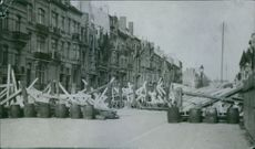 The war... barricades erected in the street. 1914.