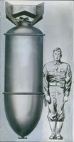 A photo of an illustration of a Danish soldier that height is almost half of an air bomb.