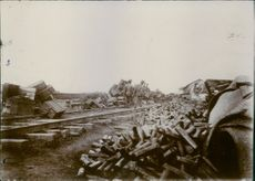 Russian ammunition left by the railroad in Liaodong Peninsula.
