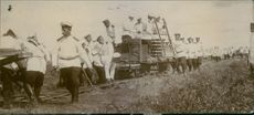Russian Railway Troops constructing a temporary railway for the transportation of materials.