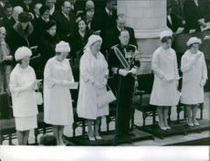 Princess Juliana of the Netherlands and Prince Bernhard of Lippe-Biesterfeld with their daughters, Princess Beatrix, Princess Irene, Princess Margriet and Princess Christina at Queen Wilhelmina of the Netherlands' funeral. 1962.
