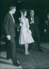 Prince Juan Carlos Borbón with his wife, Princess Sophia of Greece and Denmark, arrival. Athens, 1962.