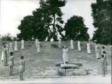 Women and children performing.