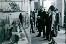 The Royal Couple Juan Carlos and Princess Sofia in a museum viewing antiques