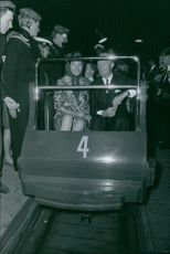 Princess Benedikte of Denmark and Richard, 6th Prince of Sayn-Wittgenstein-Berleburg ride the rollercoaster. 1967.