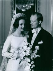 Princess Benedikte of Denmark and Richard, 6th Prince of Sayn-Wittgenstein-Berleburg wedding picture. 1968.