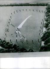 A drawn picture of Hunters shooting birds on the field.