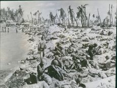 1943 U.S. Marines Drive Japanese From Gilbert Islands  U.S. Marines rest briefly on the shell-torn beach of Tarawa in the South Pacific Gilbert Islands after driving Japanese defenders inland from the beachhead.