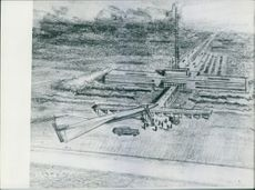 Drawing of a fully equipped missile launch station. Text in Italian.