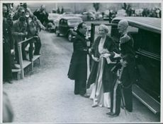 Princess Alexandra being welcomed and greeting by the people.
